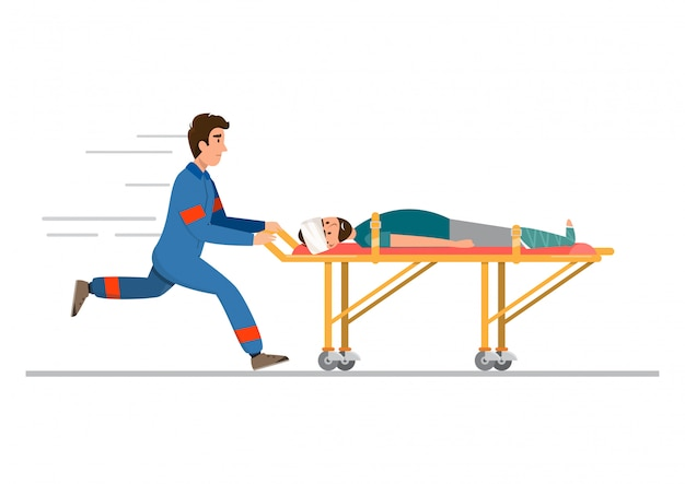 Ambulância de atendimento médico de emergência. a equipe está transportando o paciente em maca