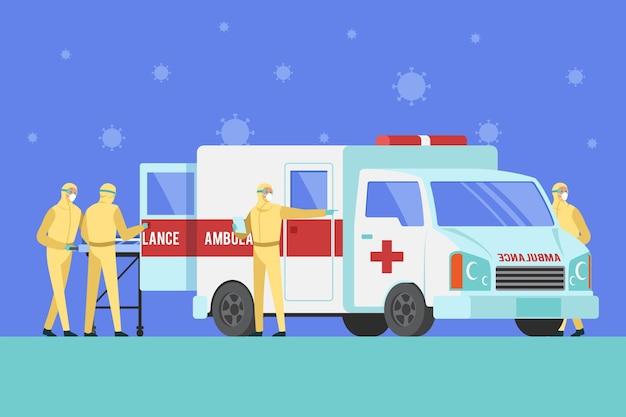 Ambulância de emergência com conceito de coronavírus