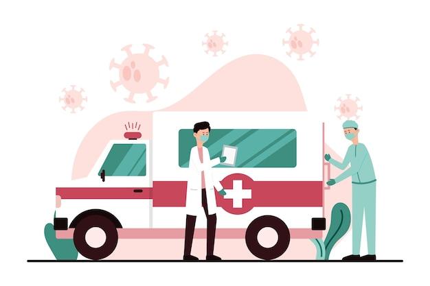 Ambulância de emergência com médicos equipados