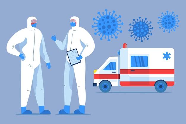 Ambulância de emergência com médicos ilustrados