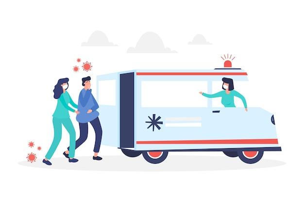 Ambulância de emergência ilustrada com médicos e paciente