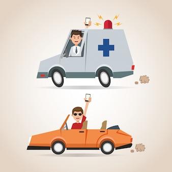 Ambulância e carro de telefone inteligente do homem dos desenhos animados