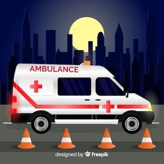 Ambulância em design plano