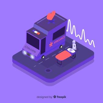 Ambulância em estilo isométrico