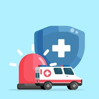 Ambulância emergência proteção vida proteção ilustração vetorial design plano