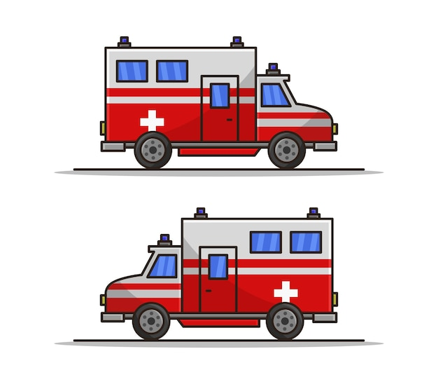 Ambulância ilustrada de desenho animado