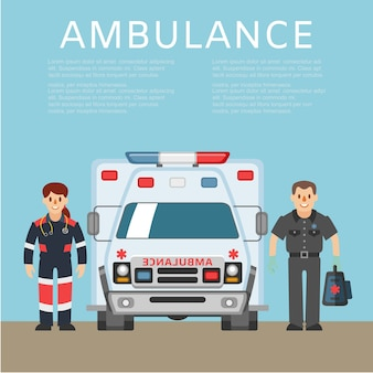 Ambulância, informações básicas, veículo médico de emergência, resgate de transporte, ilustração. trabalhadores de saúde de homem e mulher, veículo, medicamento para atendimento ao paciente.