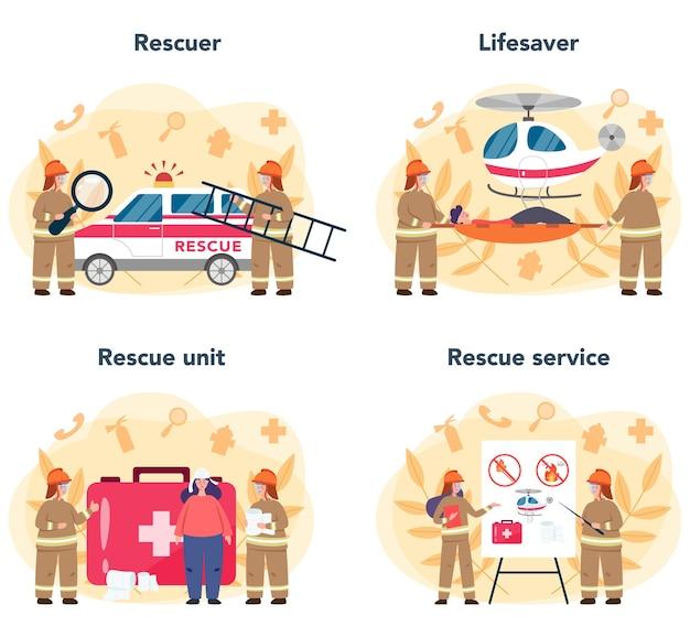 Ambulância salva-vidas em uniforme auxiliando os primeiros socorros a pessoa ferida