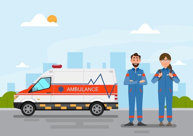 Ambulância, serviço médico, carregar, paciente, com, homem mulher, pessoal