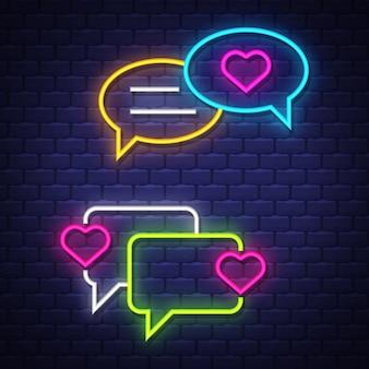 Ame a coleção dos sinais de néon da bolha da conversa. amo os sinais de balões de bate-papo. placas de neon.