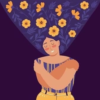 Ame a si mesmo, cuidado, aceitação, saúde mental, felicidade, corpo positivo, conceito criativo de harmonia. mulher com flores no cabelo fica de olhos fechados e se abraça. desenho plano