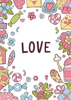 Ame o feriado do valentim ou o cartão de casamento convide o fundo.