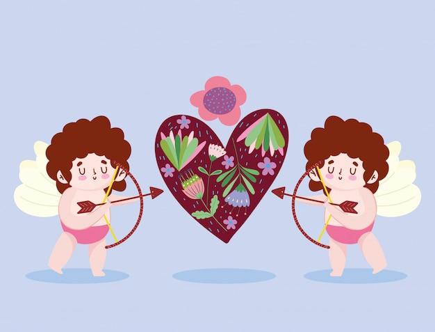 Ame pequenos cupidos atirando flecha coração flores desenho romântico