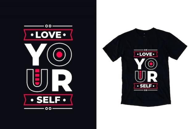 Ame-se tipografia moderna citação camiseta design