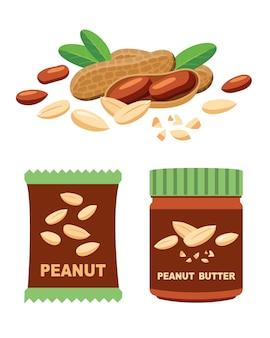 Amendoim e produtos, massas e nozes em embalagens.