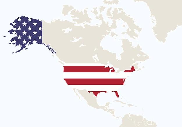 América do norte com mapa dos eua em destaque. ilustração vetorial.