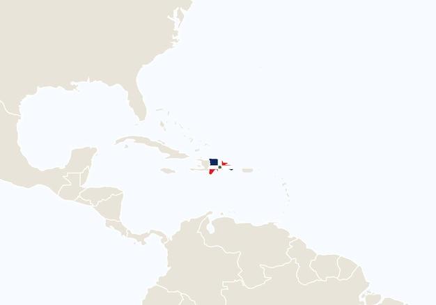 América do sul com destaque no mapa da república dominicana. ilustração vetorial.