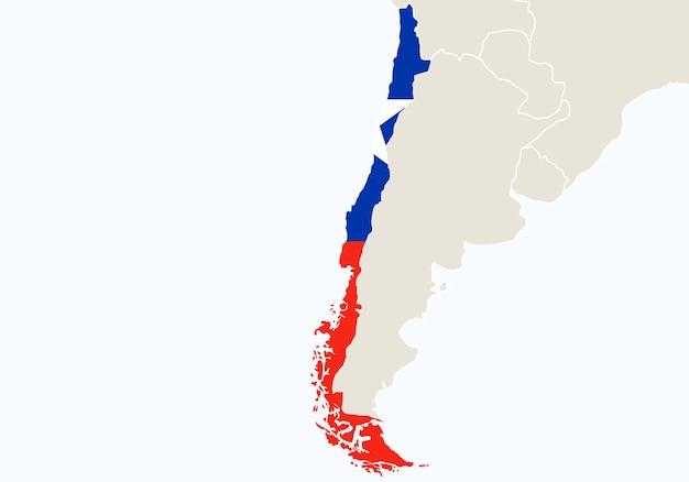 América do sul com destaque no mapa do chile. ilustração vetorial.