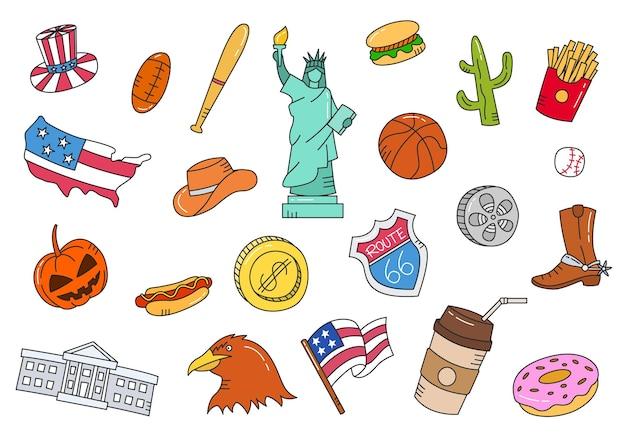América ou estados unidos nos doodle conjunto de coleções desenhadas à mão com ilustração em vetor estilo contorno plano