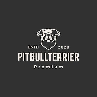 American pitbull terrier hipster logotipo vintage icon ilustração