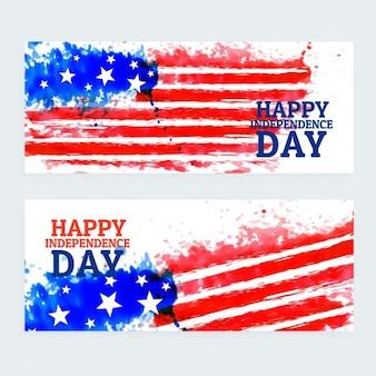 Americano bandeiras dia da independência com a bandeira da aguarela