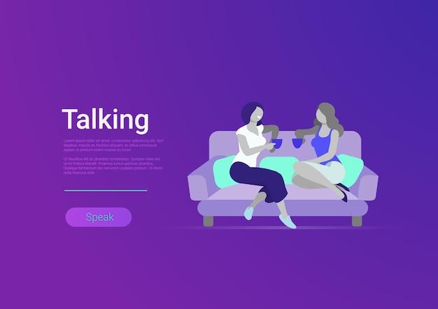 Amigas de estilo simples conversando com ilustração de modelo de banner em vetor