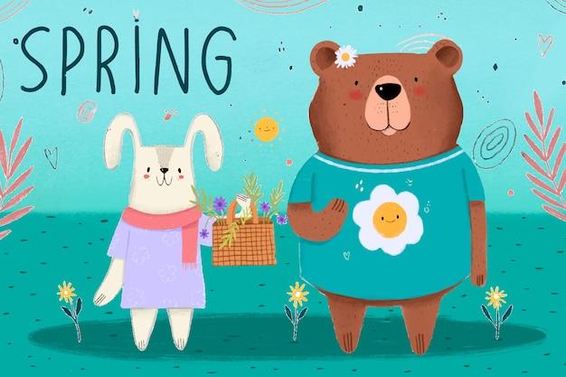 Amigável urso e coelho primavera está chegando a temporada