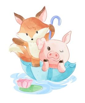 Amigo animal dos desenhos animados em guarda-chuva