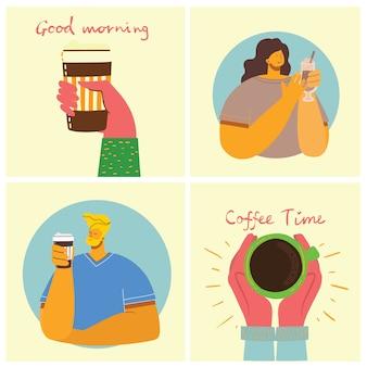 Amigo de pessoas bebendo café e conversando a sorrir. cartões de conceito de hora do café, pausa e relaxamento. ilustração em estilo design plano