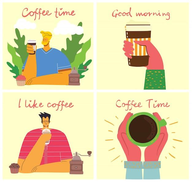 Amigo de pessoas bebendo café e conversando a sorrir. cartões de conceito de hora do café, pausa e relaxamento. ilustração em estilo moderno