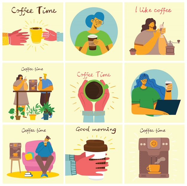 Amigo de pessoas bebendo café e conversando a sorrir. hora do café, pausa e relaxamento cartões de conceito de vetor