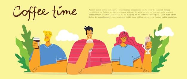 Amigo de pessoas sorrindo, bebendo café e conversando. cartões de conceito de hora do café, pausa e relaxamento. ilustração em estilo de design moderno