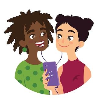 Amigo está compartilhando músicas com um amigo. duas garotas de cultura diferente, ouvindo música usando o smartphone. ilustração da amizade internacional em estilo cartoon plana sobre fundo branco.