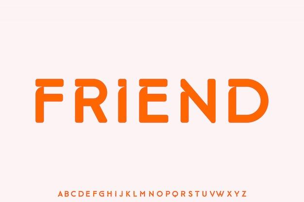 Amigo, um tipo de fonte de exibição nítida exclusiva, alfabeto estilo retro digitado