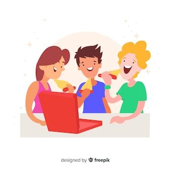 Amigos a passar tempo juntos design plano