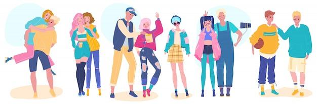 Amigos adolescentes, felizes jovens adolescentes em roupas da moda, ilustração