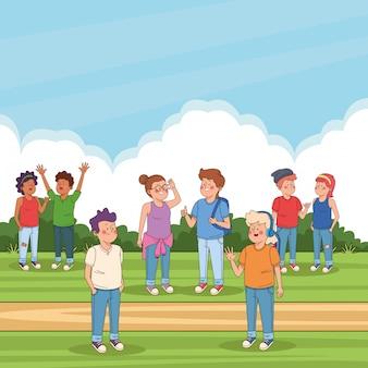Amigos adolescentes nos desenhos animados do parque