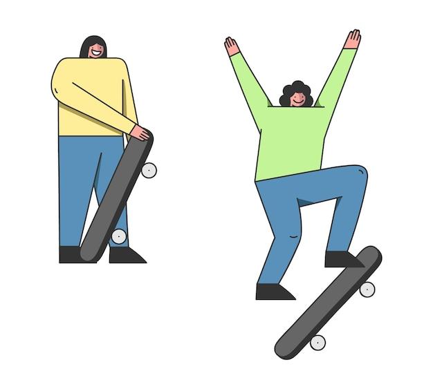 Amigos adolescentes skatistas andando de skate