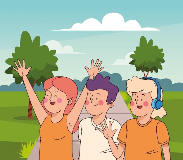 Amigos adolescentes, sorrindo, e, saudação