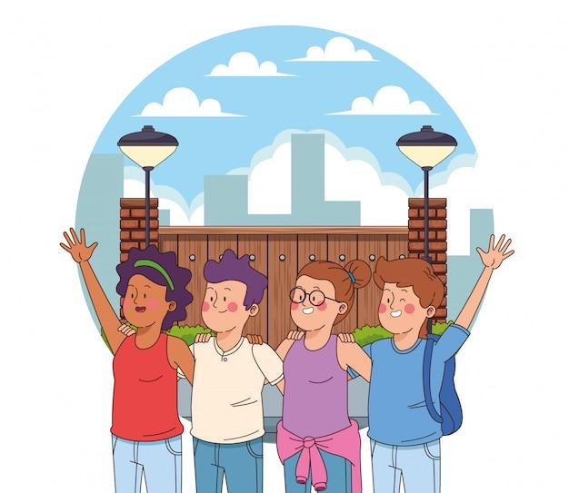Amigos adolescentes, tendo, divertimento, desenhos animados