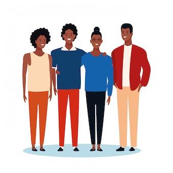 Amigos afro dos desenhos animados em pé