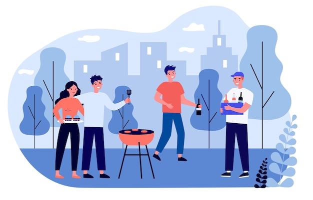Amigos alegres se divertindo no piquenique do churrasco. churrasco, natureza, ilustração plana do parque. conceito de lazer e fim de semana