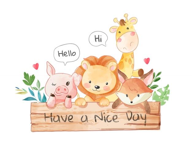 Amigos animais fofos com ilustração de placa de sinal de madeira