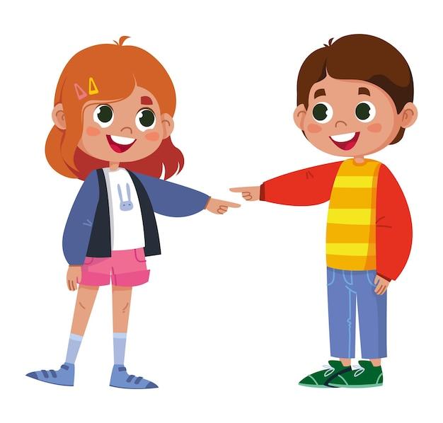 Amigos brincam e riem juntos menino e menina felizes desfrutam de piadas divertidas e amigáveis juntos apontam o dedo