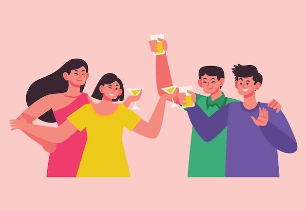 Amigos brindando juntos o tema ilustração