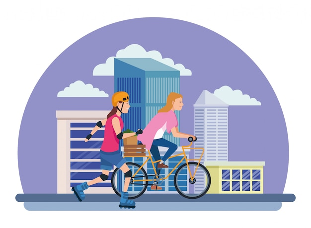 Amigos, com, bicicleta, e, patins