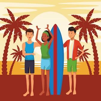 Amigos com desenhos de verão de mesa de surf