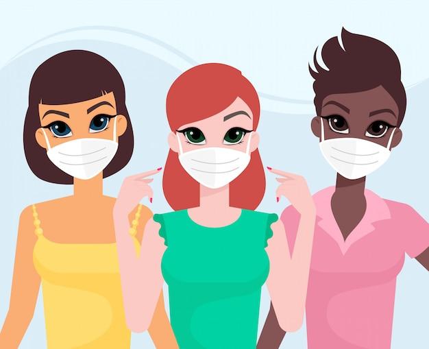 Amigos com máscaras médicas protetoras