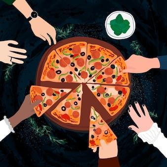 Amigos compartilhando uma pizza italiana