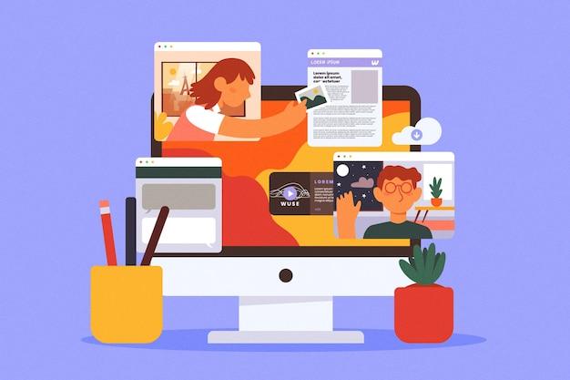 Amigos conversando através de computadores